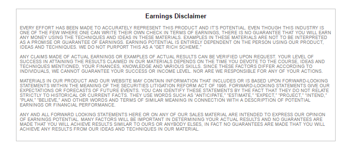 CSS - earning disclaimer